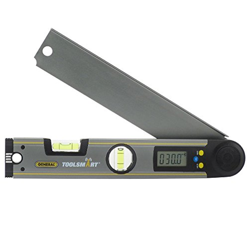 General Tools TS02 ToolSmart Bluetooth Connected Digital Angle Finder, Protractor, Level and 10.5-Inch Ruler