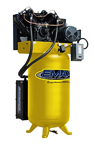 10 HP Quiet Air Compressor, 1 PH, 2-Stage, 80-Gallon, Vertical, EMAX Yellow, Industrial Series, Model ES10V080V1 by EMAX Compressor