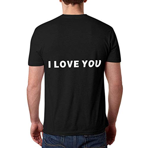I Love You 3000 T-Shirt Women Man Couple Casual Letter Lover Short Sleeve Loose Simple Tops O-Neck Blouse M:Black L