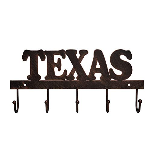 "EBEI Metal Barn Star Key Rack Holder Wall Mounted Metal Decorative 12"" Vintage Key with 5 Hooks Dark Brown Western Home Wall Decor Texas Home Decor from EBEI"