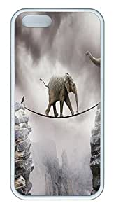 IMARTCASE iPhone 5S Case, Cute Baby Elephants First Steps Case for Apple iPhone 5S/5 TPU - White