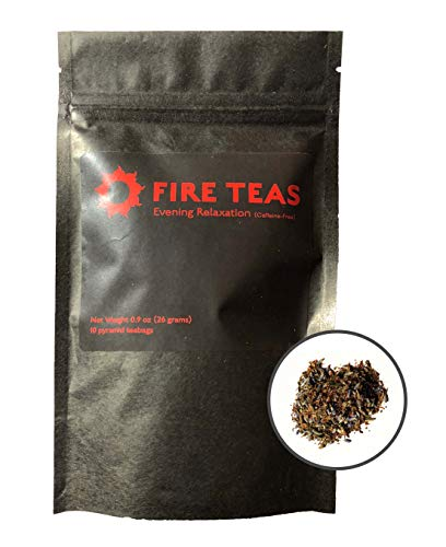 FIRE TEAS - Evening Relaxation - Caffeine Free Herbal Tea with Red Rooibos, Peppermint, Lavender, Raspberry Leaf, Ginger, Saffron - Relieves Stress & Helps Sleep - Antioxidant Rich (Best Tea For Sleep And Relaxation)