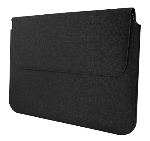 Emartbuy Universal 13.3-14.0 Inch Dark Grey Premium Textured Fabric Magnetic Folio Wallet Case Cover Sleeve Suitable for Devices Listed Below