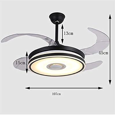 NIUZIMU Ventiladores de Techo Ocultos con lámpara Candelabro Moderno para el Ventilador Salón del Restaurante Iluminación Colgante del Ventilador Interruptor de Control de Pared LED -1376: Amazon.es: Hogar