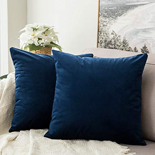 MIULEE Pack of 2 Velvet Pillow Covers Decorative Square Pillowcase Soft Solid Cushion Case for Sofa Bedroom Car 26 x 26 Inch Dark Blue