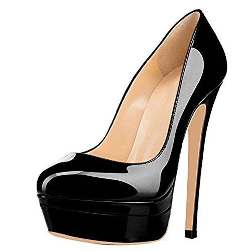 Party Onlymaker Slip Pump On Super Heel Toe Platform Fashion Wedding High Women's Shoes black Stiletto Double Platform Closed q6wqC4p