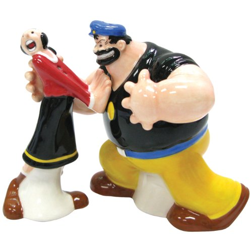 Westland Giftware Popeye Magnetic Olive Oyl and Brutus Salt and Pepper Shaker Set, multi-colored, 8