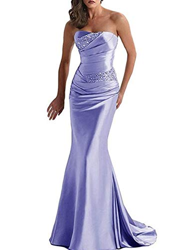 Emmani Women's Strapless Beaded Mermaid Sheath Trailing Evening Dresses Lavender