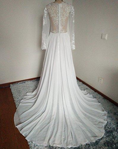 Kevins Bridal A-Line Lace Chiffon Wedding Gowns Long Sleeves Beach Wedding Dress