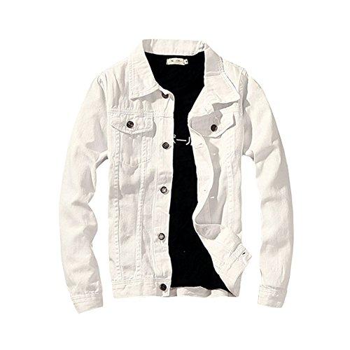 LifeHe 2017 Denim Jacket Men Slim Fit Fashion Jeans Coat (Large, ()