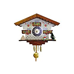 Engstler Battery-Operated Colorful Wooden Beaded House Mini Cuckoo Clock
