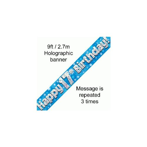 by Party2u 9ft Blue /& Silver Stars Holographic Happy 17th Birthday Banner 2.7m length