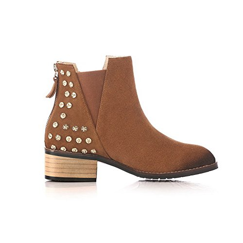 Low Blend Heels Brown Women's Slipping Sole with Allhqfashion Boots Materials Non UxFZwntq