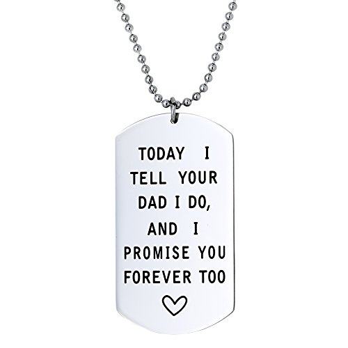 Melix Home Today I Tell Your Dad I Do I Promise You Forever Too Necklace, Stepmother Bead chain (White)