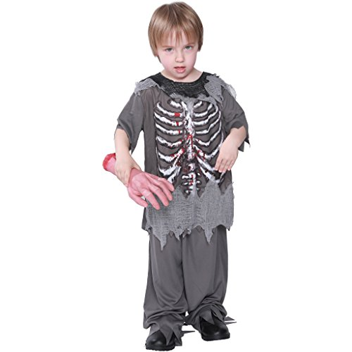 Eraspooky Boy's Halloween Costumes Kids Zombie Skeleton Costum for Boys Blood Shirt - Funny Cosplay Party ()