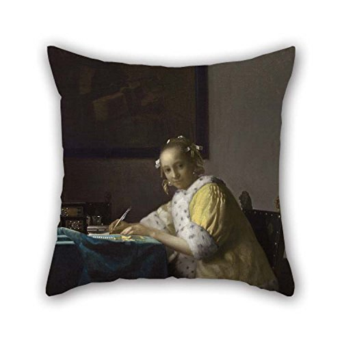 (TonyLegner Pillow Covers of Oil Painting Johannes Vermeer - A Lady Writing for Play Room Kids Girls Son Home Kids Room Lover 16 X 16 Inches / 40 by 40 cm(Both Sides))