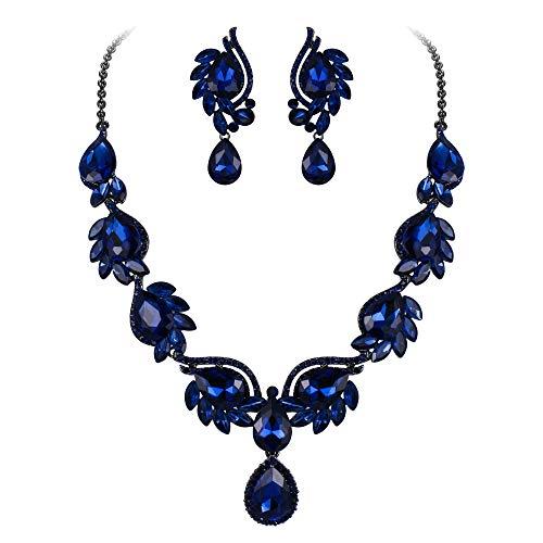 Flyonce Women's Crystal Wedding Floral Leaf Teardrop Necklace Pierced Earrings Set Navy Blue Black-Tone