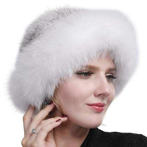 Valpeak Womens Winter Hat Knitted Mink Real Fur Hats with Fox Brim (White)