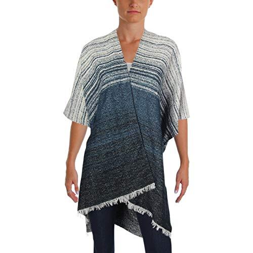 Lucky Brand Women's Striped Fringe-Trim Kimono Blue Multi ONE -