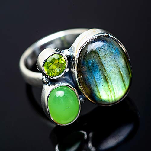 Ana Silver Co Labradorite, Prehnite, Peridot Ring Size 7.5 (925 Sterling Silver) - Handmade Jewelry, Bohemian, Vintage RING952969