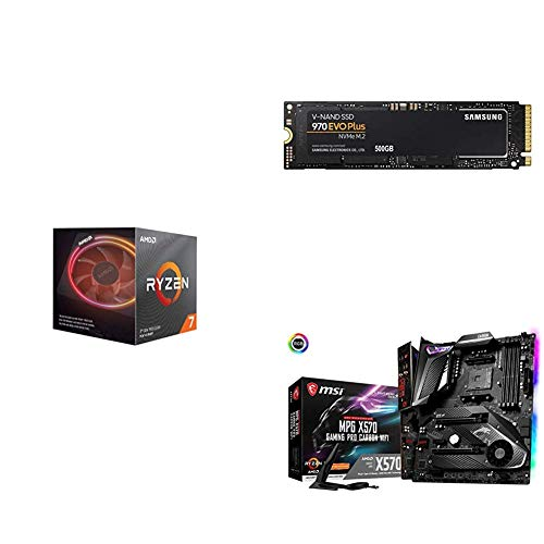 AMD Ryzen 7 3800X 8-Core, 16-Thread Unlocked Desktop Processor with MSI MPG X570 Gaming PRO Carbon WiFi Motherboard and Samsung 970 EVO Plus SSD 500GB
