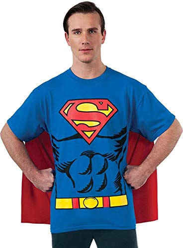 Normal Halloween Costume Ideas (DC Comics Superman Costume T-Shirt With Cape, Blue,)