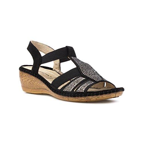 Cushion Walk - Sandalia cómoda, con apliques estilo diamante, negra, para mujer Cushion Walk Negro
