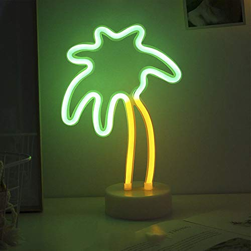 Fiee Palm Tree Shaped Neon Signs,Led Safety Art Wall Decoration Lights Neon Lights Night Table Lamp  - http://coolthings.us