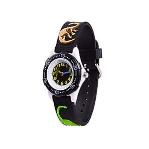 Wolfteeth Analog Grade School Toddler Kids Wrist Watch with Second Hand 3D Dinosaur Strap White Dial Water Resistant Boy Wrist Watch Black 305902