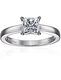 Platinum-plated Sterling Silver Princess-Cut Solitaire Ring made with Swarovski Zirconia (1 cttw), Size 8