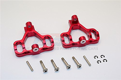(HPI Savage 21 / X / XL / K4.6 / FLUX RC Car Parts Aluminum Front/Rear C-Hub With Steel King Pin & Screws & Washers - 1Pr Set Red)
