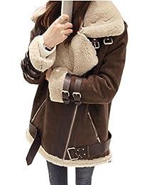 SYTX Women Zipper Faux Suede Fur Lined Aviator Biker Jacket Coat Outwear