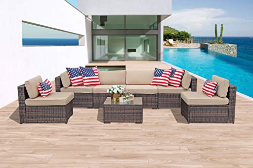 - Patiorama 7 Piece Patio Conversation Set, Outdoor PE Wicker Rattan Sectional Furniture Sofa Set with Beige Seat and Back Cushions, Steel Frame, Espresso Brown