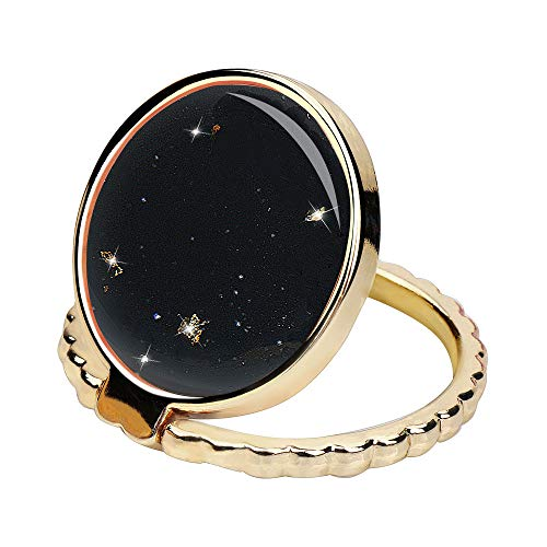 RXKEJI Cell Phone Ring Stand Finger Holder Sparkle Glitter Design Grip Kickstand Compatible with Universal Tablet iPad Smartphone iPhone X XS Max XR 6 7 8 Plus Samsung Galaxy S8 S9 S10 Note 9 - Black