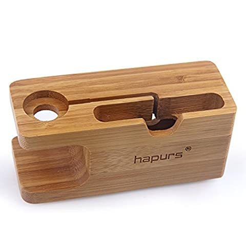 Apple Watch Stand, Hapurs iWatch Bamboo Wood Charging Dock Charge Station Stock Cradle Holder for Apple Watch Both 38mm and 42mm & iPhone 6 6 plus 5S (Classy Sports Watch)
