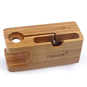 apple watch stand hapurs iwatch bamboo wood charging dock charge station stock. Black Bedroom Furniture Sets. Home Design Ideas
