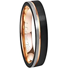 """Crownal 6mm/8mm Tungsten Carbide Wedding Rings Men Women Rose Gold Line Ring Black and Silver Brushed Engraved """"I Love You"""" Comfort Fit Size 4 To 16"""