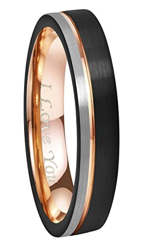 6 Mm Engraved Band - Crownal 6mm/8mm Tungsten Carbide Wedding Rings Men Women Rose Gold Line Ring Black and Silver Brushed Engraved