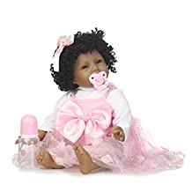 HerIn African American Reborn Baby Dolls, Black Newborn Babies Doll, 22 IN Magnetic Pacifier Baby Toys with Pink Dress Kids Birthday Xmas Gift