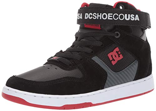 Suede Dc Sneakers - DC Men's PENSFORD Skate Shoe, Black/Dark Grey/Athletic red, 14 M US