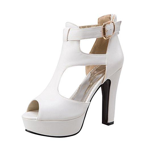 Pied De Charme Femmes Peep Toe Plate-forme Talons Hauts Boot Sandales Blanc