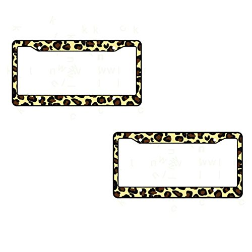 A Set of 2 Made in USA Plastic License Plate Frame Safari Animal Series- Leopard Tan
