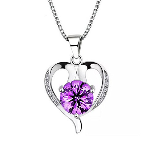 Bling Stars Silver Plated Swarovski Element Accent Amethyst Heart Shaped Pendant Necklace (Shaped Silver Plated)