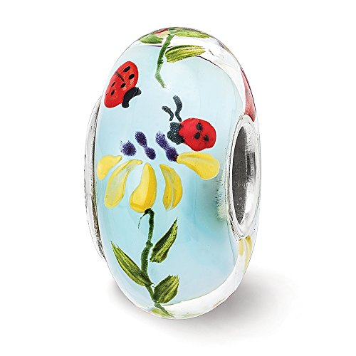 Fenton Sterling Silver Hand Painted Ladybug Love Glass Charm by Fenton Glass Beads (Image #3)