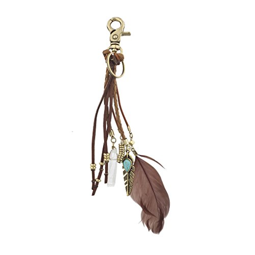 Lux Accessories Boho Brown Suede Braided Feather Marble Bead KeyChain Bag Charm ()