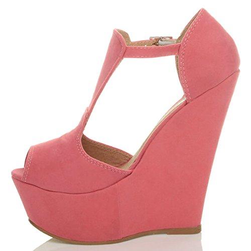 Schuhe Party peep Plattform t Pink Bar Sandalen Riemen Toe Schnalle High Sommer Keil Heel Größe Damen Coral Damen 0wIq6PYYR