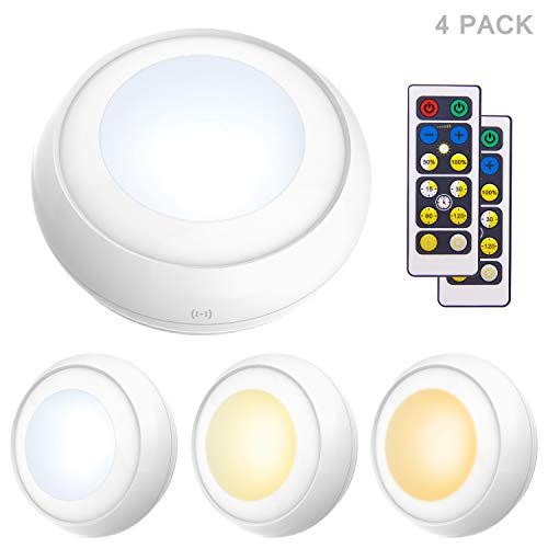 LUXSWAY Push Lights,Wireless Puck Light, Adjustable Brightness 4300K~3000K~8000K(Nature/Warm/Cool Light),Remote Control Timer and Dimmer Stick Light for Closet/Bedroom/Stairs(3AA Battery Powered)