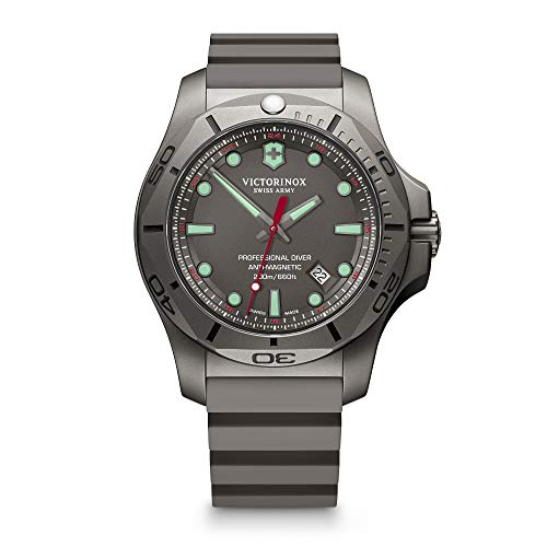 Victorinox Swiss Army Men's I.N.O.X. Titanium Swiss-Quartz Diving Watch with Rubber Strap, Grey, 22 (Model: 241810)