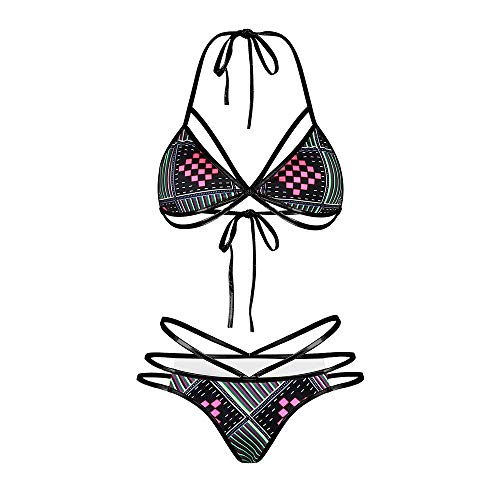 Metallic Floral Bandeau - CFR Women's Tribal Two Pieces Bikini Set African Metallic Swimsuit Suit Cut Out Halter Neck Lace Up Push Up Top Bathing Suits Swim Beach Wear - #1,L UPS Post