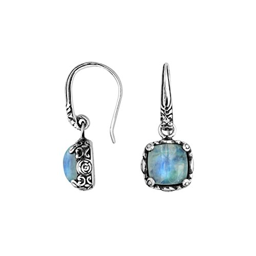 Bali Designs Sterling Silver Cushion Shape Earring with Rainbow Moonstone AE-6227-RM